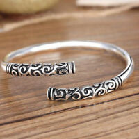 Handmade Men Women Thai Silver Vintage Bangle Bracelet Open Cuff Jewelry Fashion