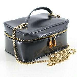 GUCCI Vintage Patent Leather Vanity Case Shoulder Bag in Navy Blue - Italy