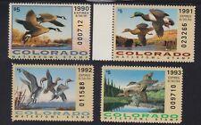 Us Co1-Co4 Colorado State Duck Stamp Mint Og Nh Scv $51.50