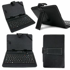 Black PU Leather AZERTY French Keyboard Case for EE Robin Kids / Harrier Tablet