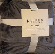 "Ralph Lauren Classic Dark Gray Micro Mink Plush Throw Blanket-50""x70"""