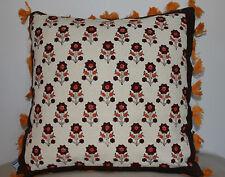 Beautiful Khaadi Blockprinted Handwoven Fabric Cushion with Tassles