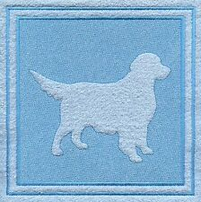 Golden Retriever Dog Embossed  White Hand Towel Set Embroidered