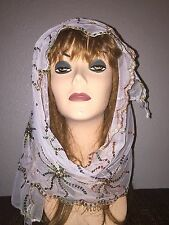 White Long Scarf Hijab Wrap Sheer pretty and fashionable w/multi color sequins