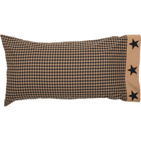 BLACK CHECK STAR King Pillow Case Set/2 Khaki Primitive Rustic Country VHC