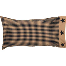 BLACK CHECK STAR King Pillow Case Set/2 Khaki Primitive Rustic Country VHC