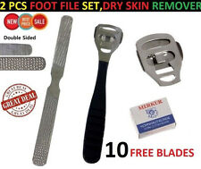 Foot Care File Pedicure Kit Dead Skin Cuticle Dry Callus Remover Tool 10 Blades