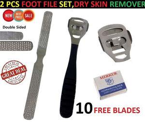 Foot Care File Pedicure Kit Dead Skin Cuticle Dry Callus Remover Tool 10 Blades