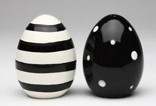 Appletree 2-3/4-Inch Black and White Egg Shape Salt and Pepper, New, Free Shippi