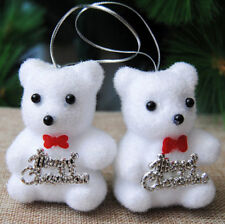 HOLIDAY CHRISTMAS TREE DECORATIONS PAIR OF FUZZY WHITE BEARS
