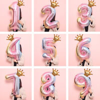 32inch Digital Foil Balloons Crown Number Air Ballon Birthday Party Decorations
