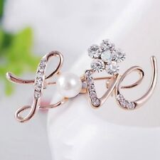 Fashion Women Gold LOVE English Letters Crystal Rhinestone Flower Brooch Pins