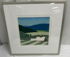 """Sabra Field 33/300 Pomfret View 9x9 Woodblock Print 15"""" Square Matted and Framed"""