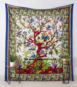 Tree Of Life Printed Cotton Wall Hanging Tapestry Queen Size Decor Throw White