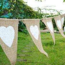 2.8M Rustic Heart Jute Hessian Burlap Bunting Shabby Chic Wedding Banner Decor