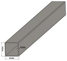 Vierkantrohr Quadratrohr roh - Hohlprofil Profilrohr Metall Stütze Stange Stahl