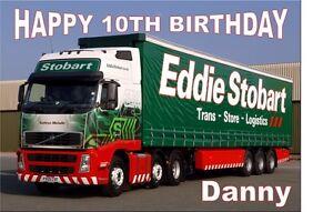 "PERSONALISED EDDI STOBART BIRTHDAY CAKE TOPPER 10""X8"" A4 ICING SHEET anyNAMEage"