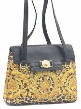 Authentic GIANNI VERSACE Sunburst Flower Leopard PVC Shoulder Hand Bag C7519