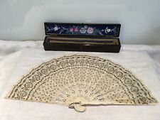 Antique Chinese Hand Held  Fan with Original Lacquered Box