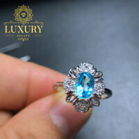 Natural 1ct Blue Topaz Gemstone Solid 925 Sterling Silver Beautiful Women Ring