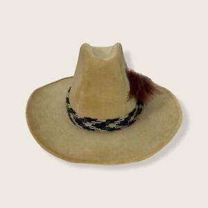 Men's Stetson Beige Faux Suede Cowboy Hat Size Medium Feather Braid Vintage