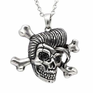 Rockabilly Skull Crossbones Pendant Necklace w. Cubic Zirconia Jewelry Controse