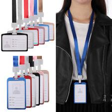 ID Card Badge Holder w/ Neck Strap Lanyard Necklace Aluminum Vertical Case Reel