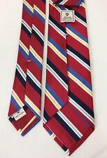 "Mint Peter Millar Hand Folded Red Multi Color Repp Striped Silk Tie 3 1/8"" X 58"""