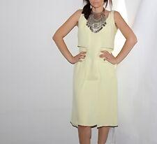 CAROLINA HERRERA Jade Yellow Silk Sleeveless Dress Size 8