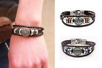 Men's Punk Metal Studded Leather Braided PU Bracelet Wristbands Cuff Accessories