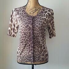 Talbots Cardigan Womens Medium Petite Leopard Animal Button Sweater Short Sleeve