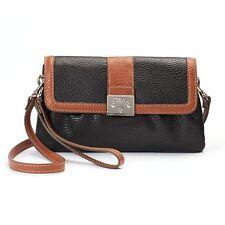 Chaps Convertible Marisa Wristlet Cross Body Bag Purse Black W  Brown Trim 62a6b9713a4c8