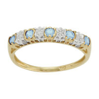 9ct Yellow Gold 0.27ct Blue Topaz & 2pt Diamond Half Eternity Band Ring