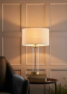 AURORA Touch Dimmer Table Lamp - Brushed Gold with White Shade & Glass Base E27