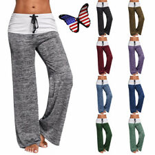 Women High Waist Loose Yoga Stretch Wide Leg Palazzo Trousers Long Pants M