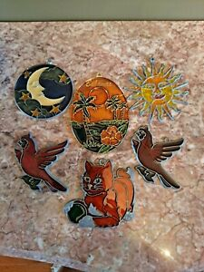 Vtg Hand made Stained Glass sun catchers Lot plus others red bird cat moon stars