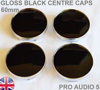 4x 60mm Gloss Black Wheel Centre Hub Caps UNIVERSAL V W Audi Skoda Seat Saab UK
