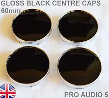 4x 60mm Gloss Black Wheel Centre Hub Caps UNIVERSAL VW Audi Skoda Seat Subaru UK