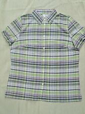 Womens Check Blouse Lime Lilac Short Sleeves Cotton Ex-Chainstore Size 20 New