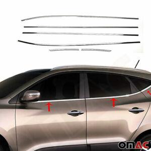 Chrome Window Frame Trim Cover S. Steel 6 Pcs Fits Hyundai Tucson 2010-2015