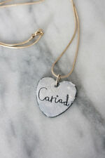Handmade Welsh Enamel Heart Valentine Necklace - 'Cariad' (love/beloved/darling)