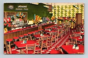 Postcard TN Jackson Tennessee Hiram's Restaurant Interior Lunch Counter #2 X22