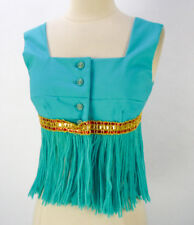 Vintage Custom OOAK Genie Crop Top (XS) Turquoise Fringe Belly Dancer Costume