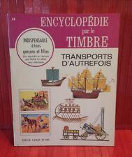 vintage 1968 Encyclopédie par le Timbre.  # 14 . Transports . sticker book