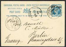 1896 ZANZIBAR OVERPRINT Postcard via ADEN to Germany Fine Used