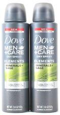 2 Dove Men+Care Dry Spray Elements Minerals + Sage 48h Antiperspirant 3.8 oz