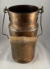 Antique Vintage Copper Primitive Wood Handle Milk Water Can Pail Jug