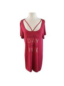 Danskin Women Sleep Shirt Short Sleeve Rayon PJ Size Large Ballet Themed Magenta