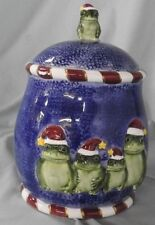 #374 / 37 FROG CHRISTMAS CERAMIC COOKIE JAR