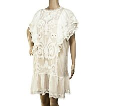 STELLAH White Semisheer Mini Dress Boho Babydoll Tunic S&M Lace Embroidery NWT